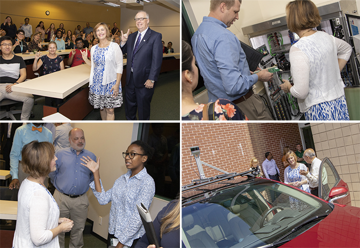 A collage of Rep. Kathy Castor's visit to CUTR at USF