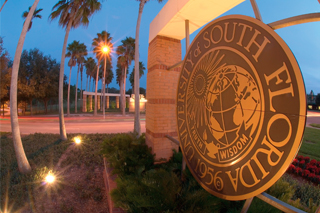 Photo of USF Seal on display at USF Tampa campus entrance