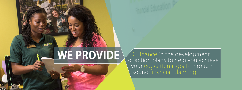 We provide guidance in the development of action plans to help you achieve your educational goals through sound financial planning. Image of two people reviewing a document.