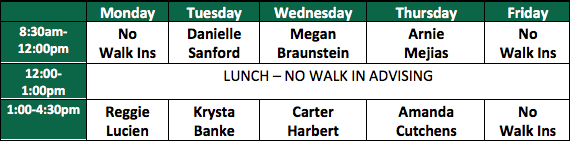Walk-in Schedule