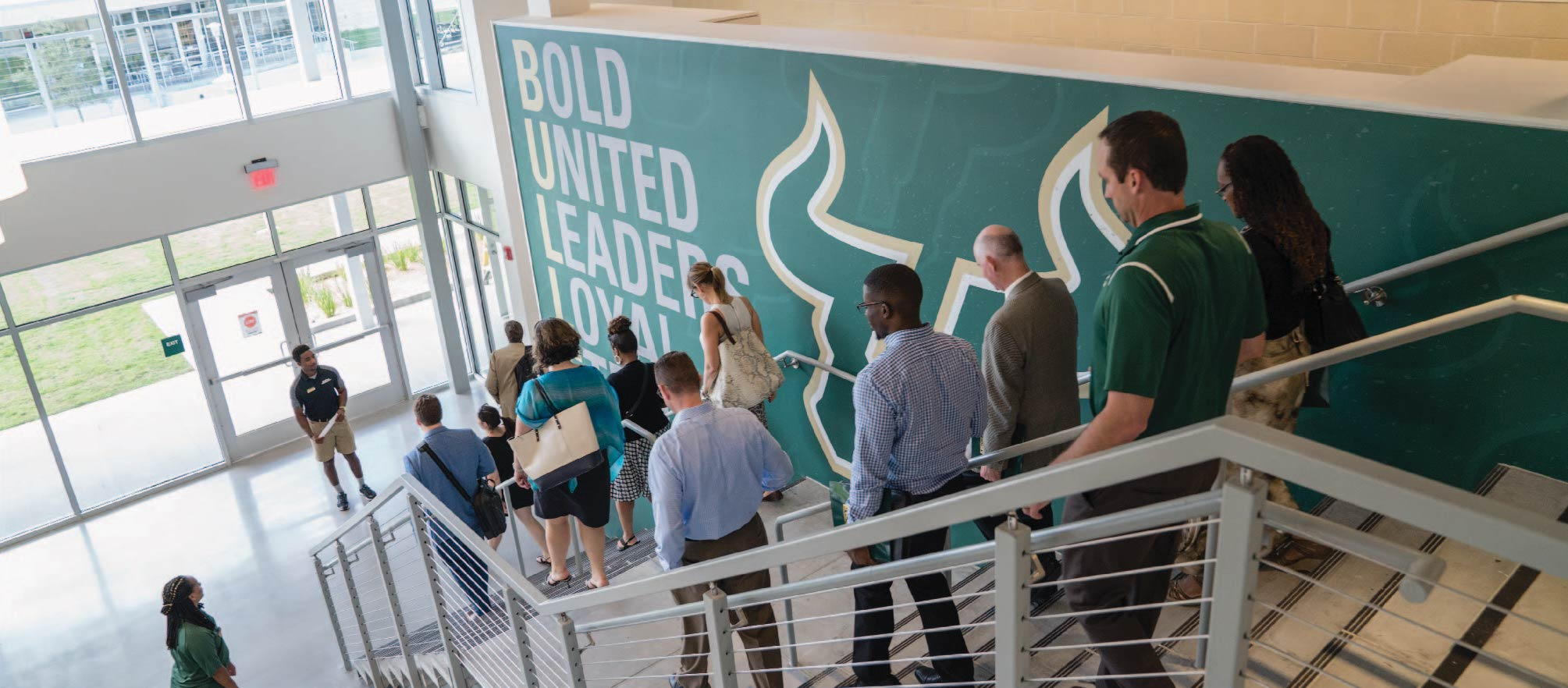 USF students and staff on a campus tour