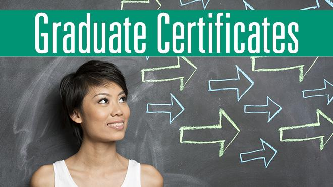 Woman standing in front of a chalk board with arrows that says Graduate Certificates.