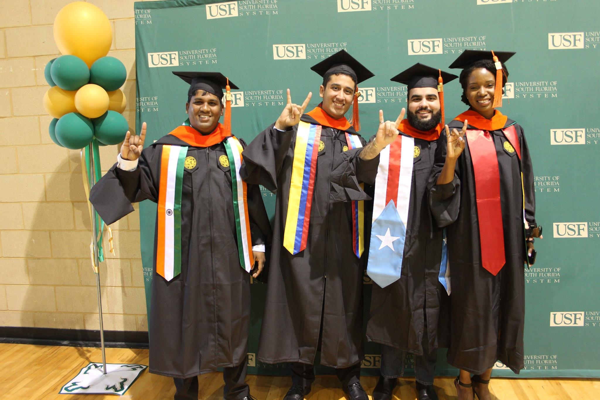 Wainella Isaacs (far right) from Guyana, just received her Master's degree in Environmental Engineering from USF, and plans to continue her PhD at the University in the same field.