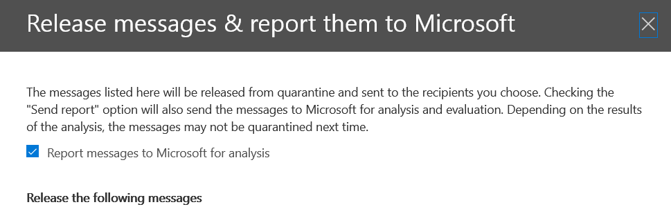 Report message to Microsoft
