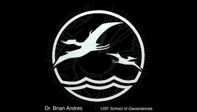 Picture of a black logo with white pterodactyls.