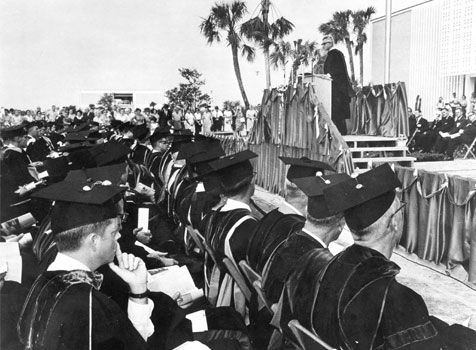 Graduates at USF's first commencement ceremony
