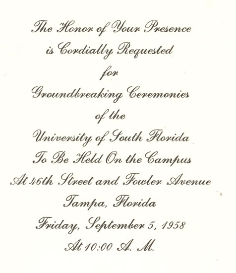 Invitation to USF groundbreaking ceremony