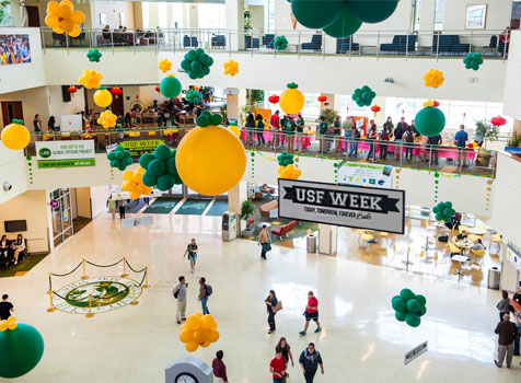 Balloons drop in the Marshall Student Center during USF Week