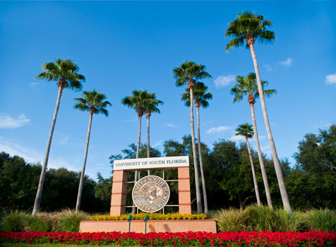 Front sign of USF Tampa campus