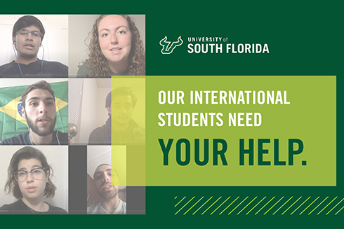 A graphic for the international student fundraiser stating 'our international students need your help.'