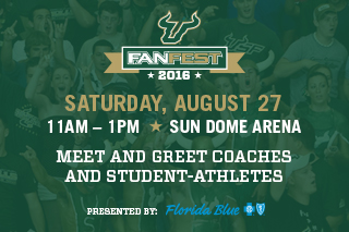 USF Bulls Fan Fest 2016. Saturday, August 27. 11am - 1pm. Sun Dome Arena. Presented by Florida Blue.