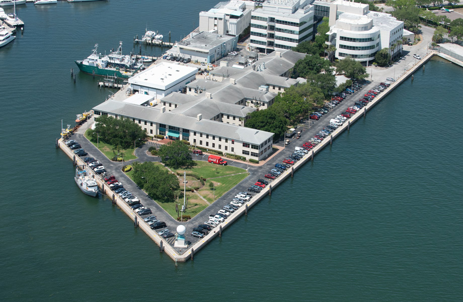 Aerial shot of marine science building on the bay