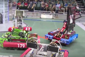 Robots competing the 4th local FIRST roboticon