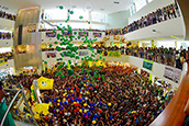 Annual balloon drop in the Marshall Student Center.