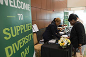 Exhibitors check in at the inaugural USF Supplier Diversity Day.
