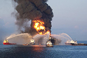 Boats putting out fires after the Deepwater Horizon oil platform explosion.
