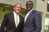 USF Board of Trustees Vice Chair Jordan Zimmerman and Chair Brian Lamb.