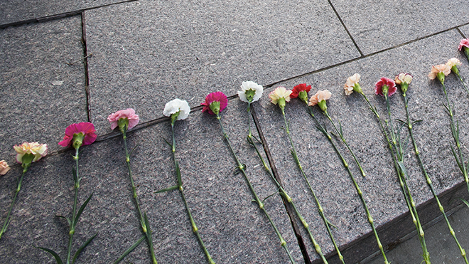 Flowers from memorial