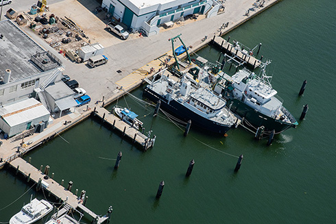 Aerial shot of the R/V Weatherbird II and R/V Hogarth
