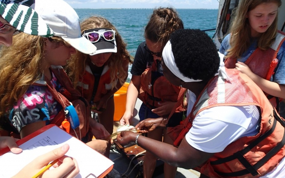 Teens Learning at Sea with the Oceanography Camp for Girls during a research cruise with E & O staff aboard RV Angari