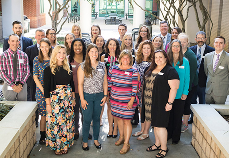 Members of the Tampa Bay Wipro Science Education Fellowship Program, including the program's first cohort, school district coordinators and USF faculty facilitators, at the induction ceremony held on May 7. Credit: USF College of Education