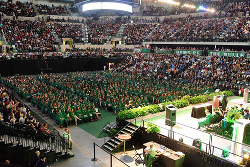 Students at commencement at Yuengling Center
