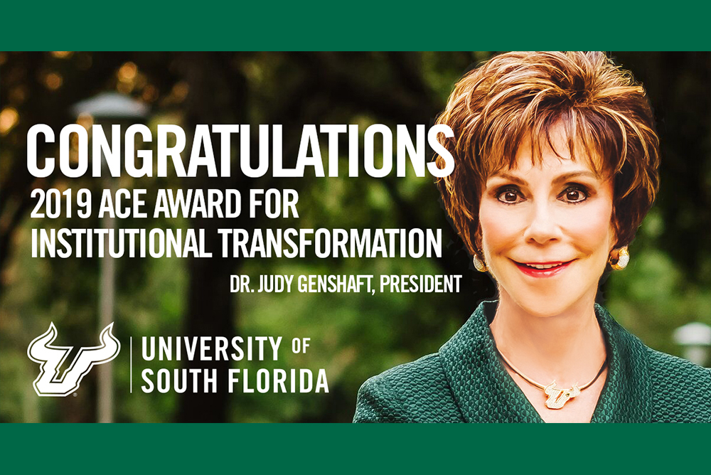Graphic image congratulating USF President Judy Genshaft on receiving the ACE Award