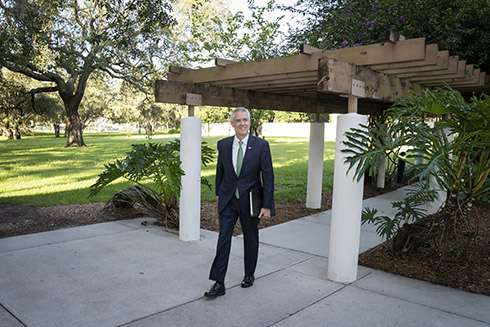 USF President Steven C. Currall's first day on the USF Tampa campus