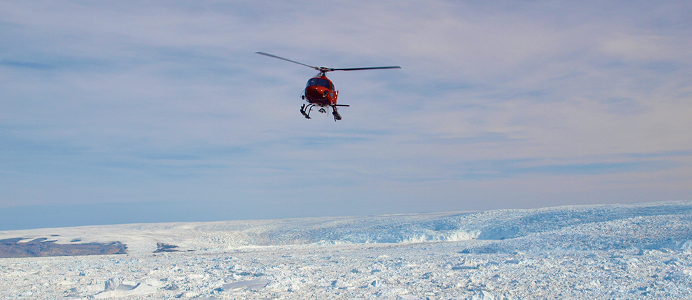 Helicopter over Greenland ICe Sheet
