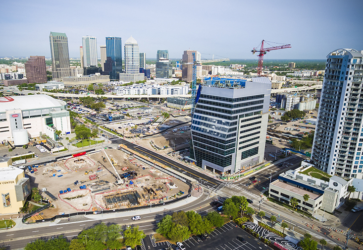 An aerial view of the new Downtown Tampa Morsani College of Medicine and Heart Institute