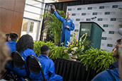 Astronaut, Don Thomas speaks to students at the Muma College of Business Atrium.