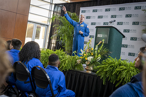 Astronaut, Don Thomas speaks to students at the Muma College of Business.
