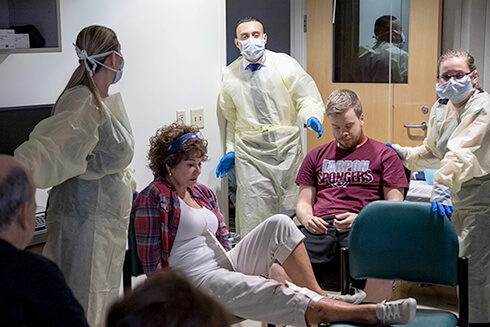 Students from the USF College of Nursing during a mock disaster zone.