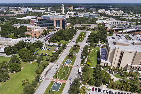 An aerial photograph of the USF Tampa campus