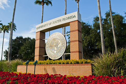 The main entrance sign to the USF Tampa campus