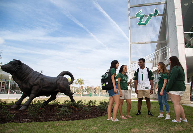 USF students hanging out in The Village