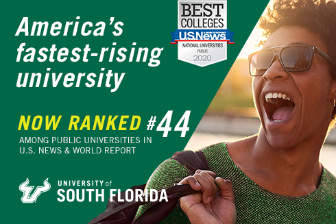 A graphic announcing USF's Top 50 placement in the latest U.S. News and Report Report rankings