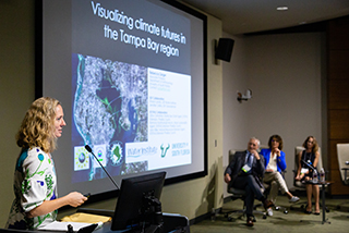 Dr. Rebecca Zarger, associate professor and Graduate Director in the USF's Department of Anthropology, presents potential threats climate change poses to public health in Tampa Bay.