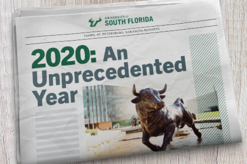Graphic for the 2020 Year in Review at USF