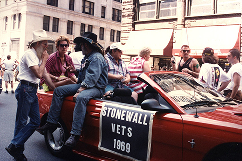 A historic photo of the Stonewall Veterans group