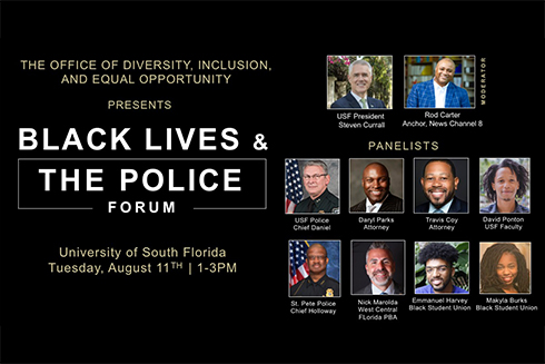 Graphic announcing the black lives and the police forum