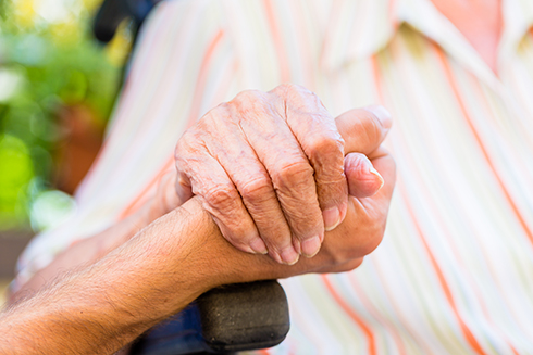 A stock photo of an elderly person's hand
