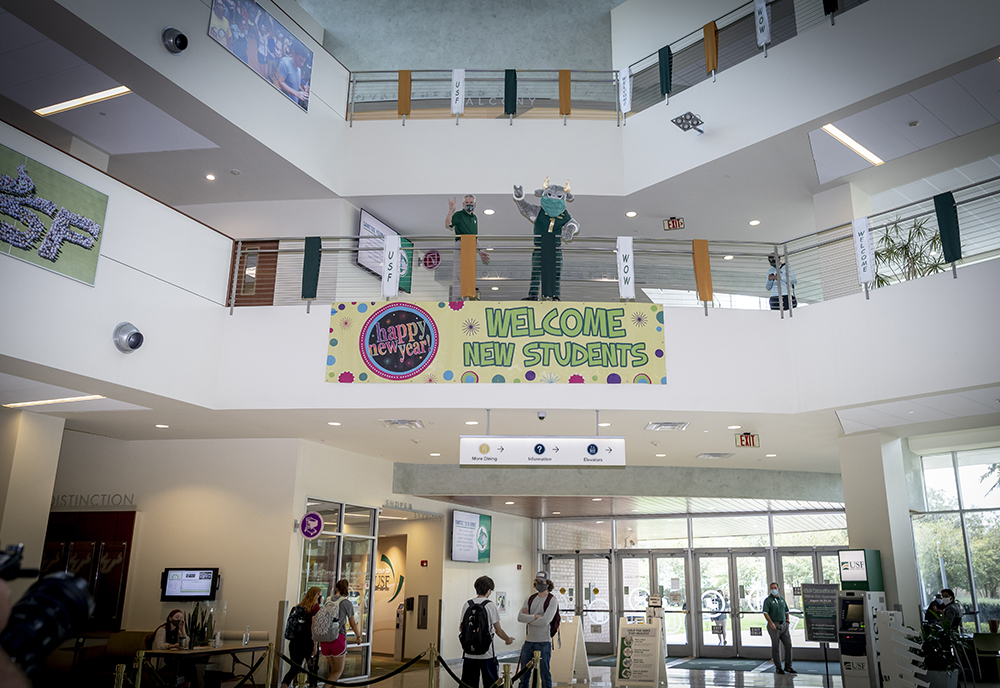 A photo from inside the Marshall Student Center with a sign welcoming new students