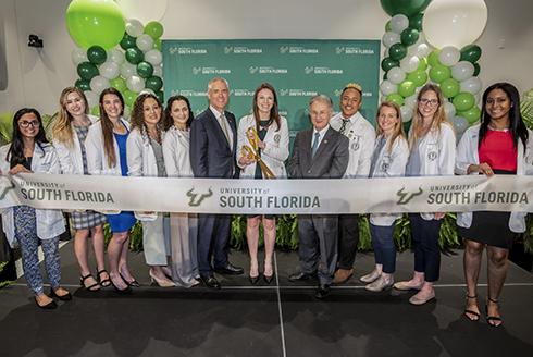 Grand opening photograph from the Morsani College of Medicine featuring USF President Steve Currall and Dean Charles Lockwood