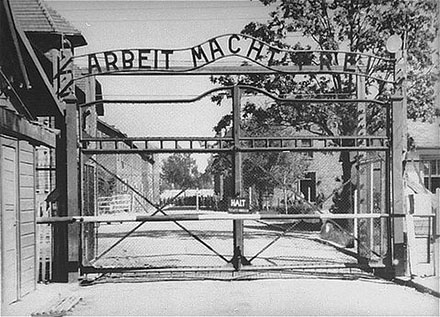 View of the Entrance to Auschwitz. Photo credit: Glowna Komisja Badania Zbrodni Przeciwko Narodowi Polskiemu, courtesy of USHMM Photo Archives