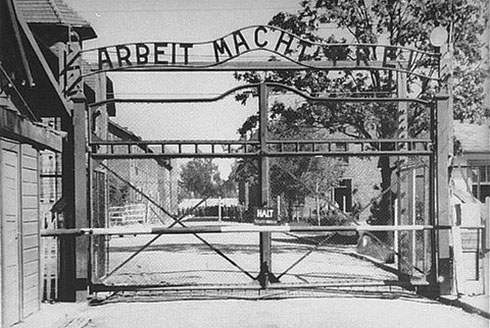 Stock image of the entrance to Auschwitz