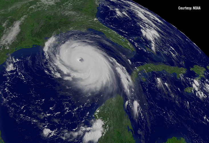 A photograph of a hurricane from space