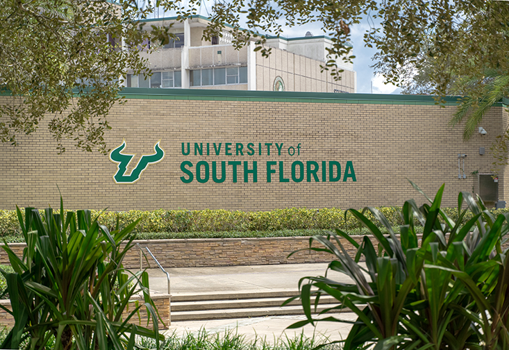 The USF logo on the Tampa campus