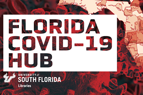 A graphic that says Florida COVID-19 Hub