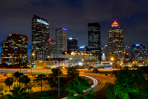 A photograph of downtown Tampa at night